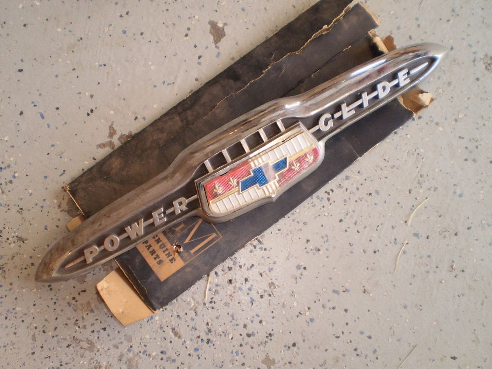1953 Chevy trunk emblem POWER GLIDE ORIG 53 RARE OEM | Classic and ...