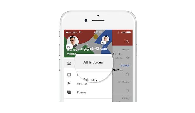 يوفر Gmail الآن صندوق بريد موحد لعرض حسابات متعددة على iOS