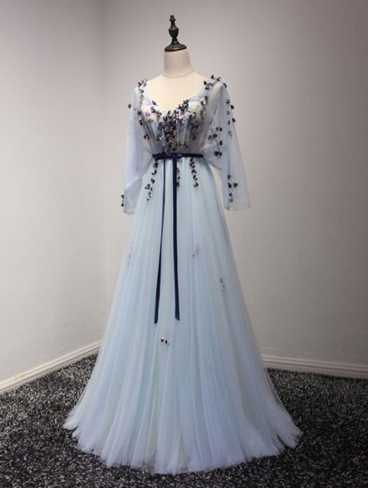 Light blue v neck long open back senior prom dress evening dress