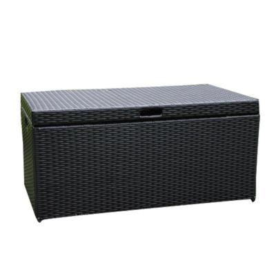 Jeco Black Wicker Patio Furniture Storage Deck Box Ori003 D Deck
