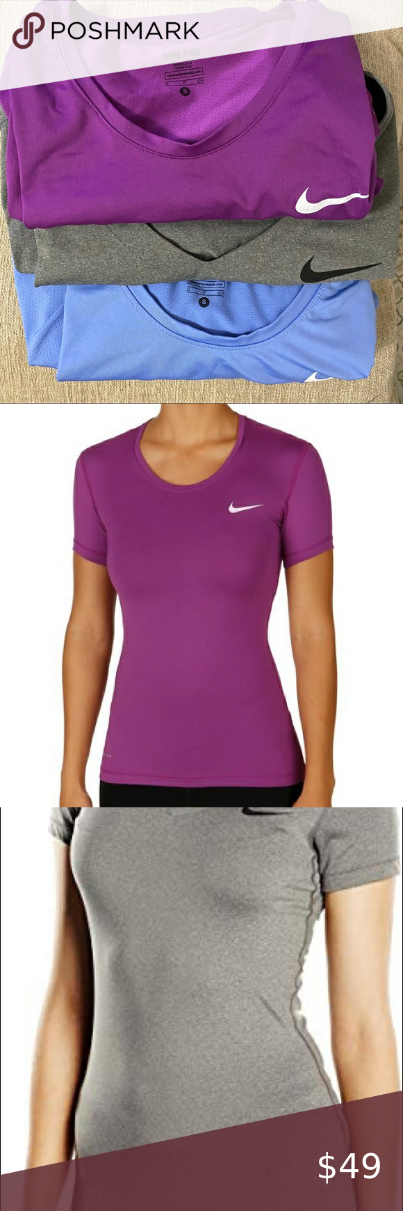 (3) Nike Women Pro Tops All three tops are semi new. Hardly used. Only Grey top is V-neck.  Sizes: Purple (S) Grey (XS) Light blue (S) Nike Tops