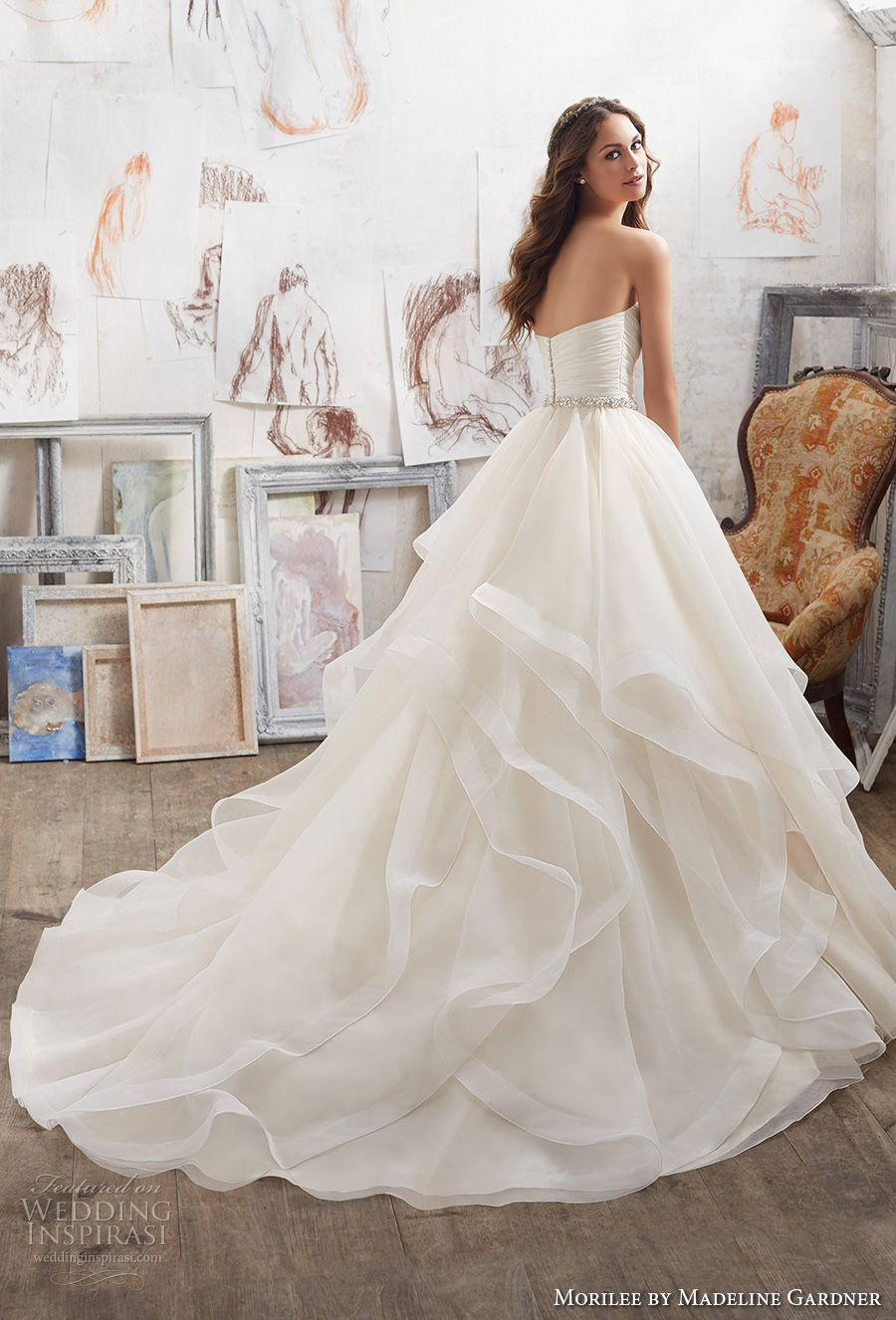 Morilee Spring 2017 Bridal Strapless Sweetheart Neckline Ruched Bodice Layer Skirt Princess Romantic Ball Gown A Line Wedding Dress Chapel Train 5504 Bv: Ball Gown Wedding Dresses Spring At Websimilar.org
