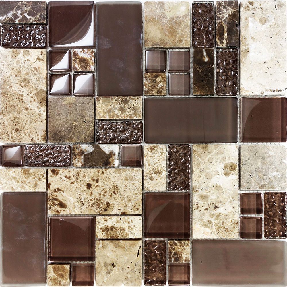 Kitchen Wall Tiles Combination: Sample Brown Pattern Imperial Marble Stone Glass Mosaic
