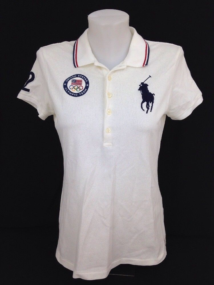 2012 POLO RALPH LAUREN London Olympics Womens Polo Golf Shirt White Big Pony  M  PoloRalphLauren  PoloRugby  Athletic 37f8235a5c73