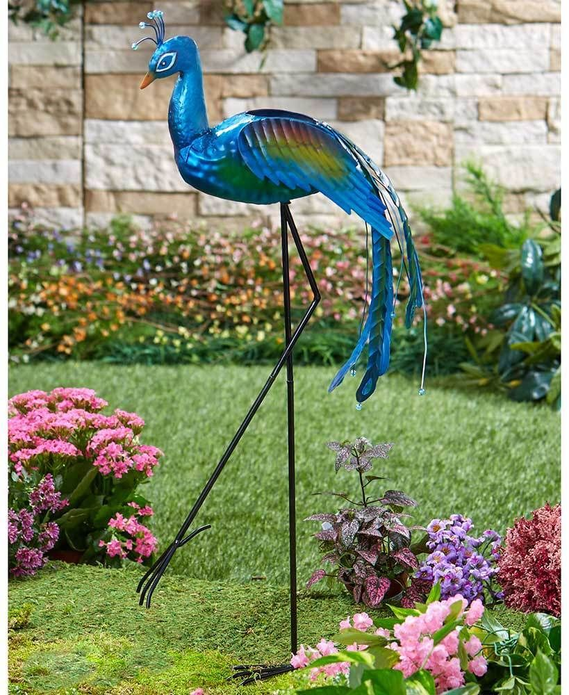 1 Peacock Metal Bird Planter Yard Art Lawn Statue Garden Outdoor Home Decor Afoyft Garden Statues Metal Birds