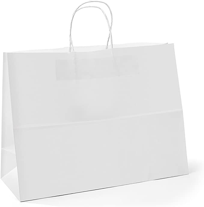 Amazon Com Gssusa 16x6x12 Inches 100pc Kraft Paper Bags With Handles Bulk White Paper Shopping Bags Grocery B Retail Bags Paper Gift Bags Retail Shopping Bags