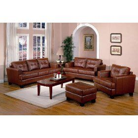 4 Pcs Burnt Orange Classic Leather Sofa Loveseat Chair And