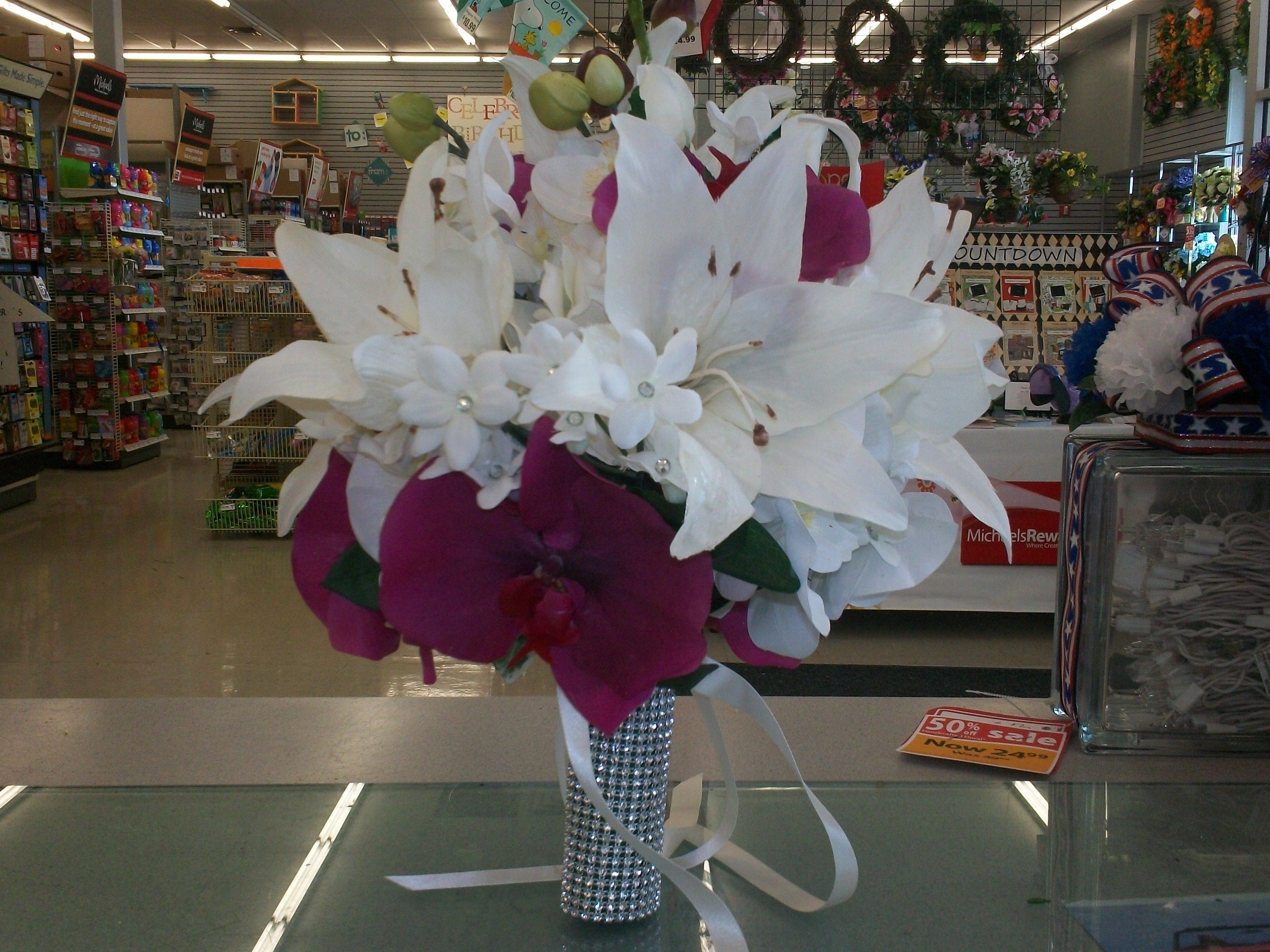 Purple orchid and white lily bridal bouquet michaels creations