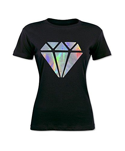 Black T Shirt With A Holographic Vinyl Diamond Holographic Print On The Front Holographic As In Reflecting Rai Diamond T Shirt Holographic Print Vinyl Tshirts
