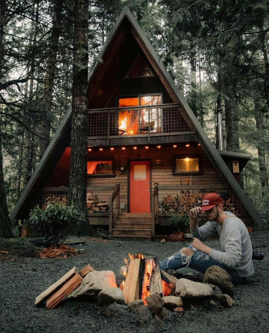 A Frame Cabin In The Woods Fire Pit Cottage Country Cabins A Frame House Small Log Cabin Log Cabin Homes