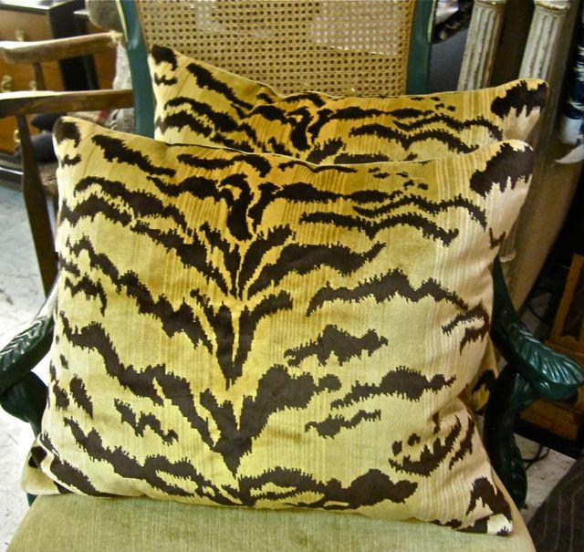 "Scalamandre Silk Velvet ""Le Tigre"" pillows, Scalamandre Le Tigre, Leopardo  Le Tigre Velvet, Scalamandre Le Tigre, Scalamandre, Scalamandre Le Tigre Velvet,  Le Tigre Pillow   LK favorite, WANTED, Velvet"