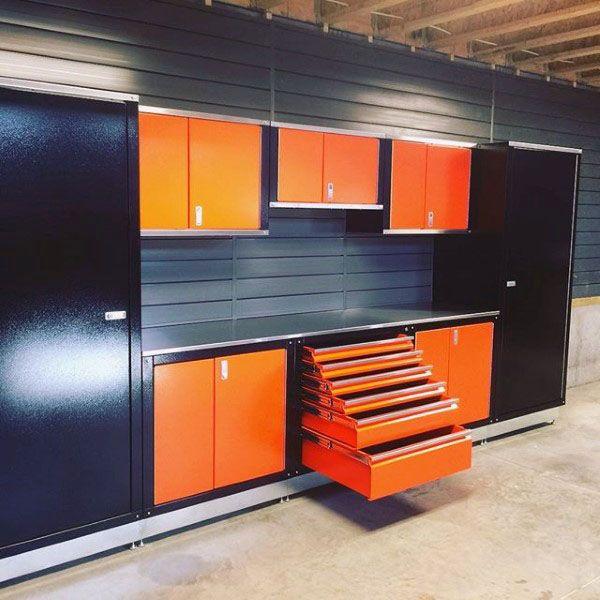 tool chest garage storage cabinets with orange and black design garage etabli pinterest. Black Bedroom Furniture Sets. Home Design Ideas