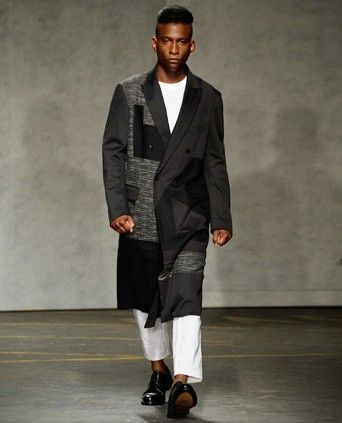 TREND: Mixed-material patchwork. Patches are having their time in the spotlight. Look for big patches made with mixed materials. (Pictured: Casely-Hayford)