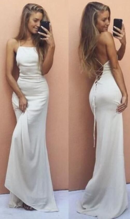 Sleeveless Formal Dress,Cheap Prom Dress,White Backless Prom Dress ...