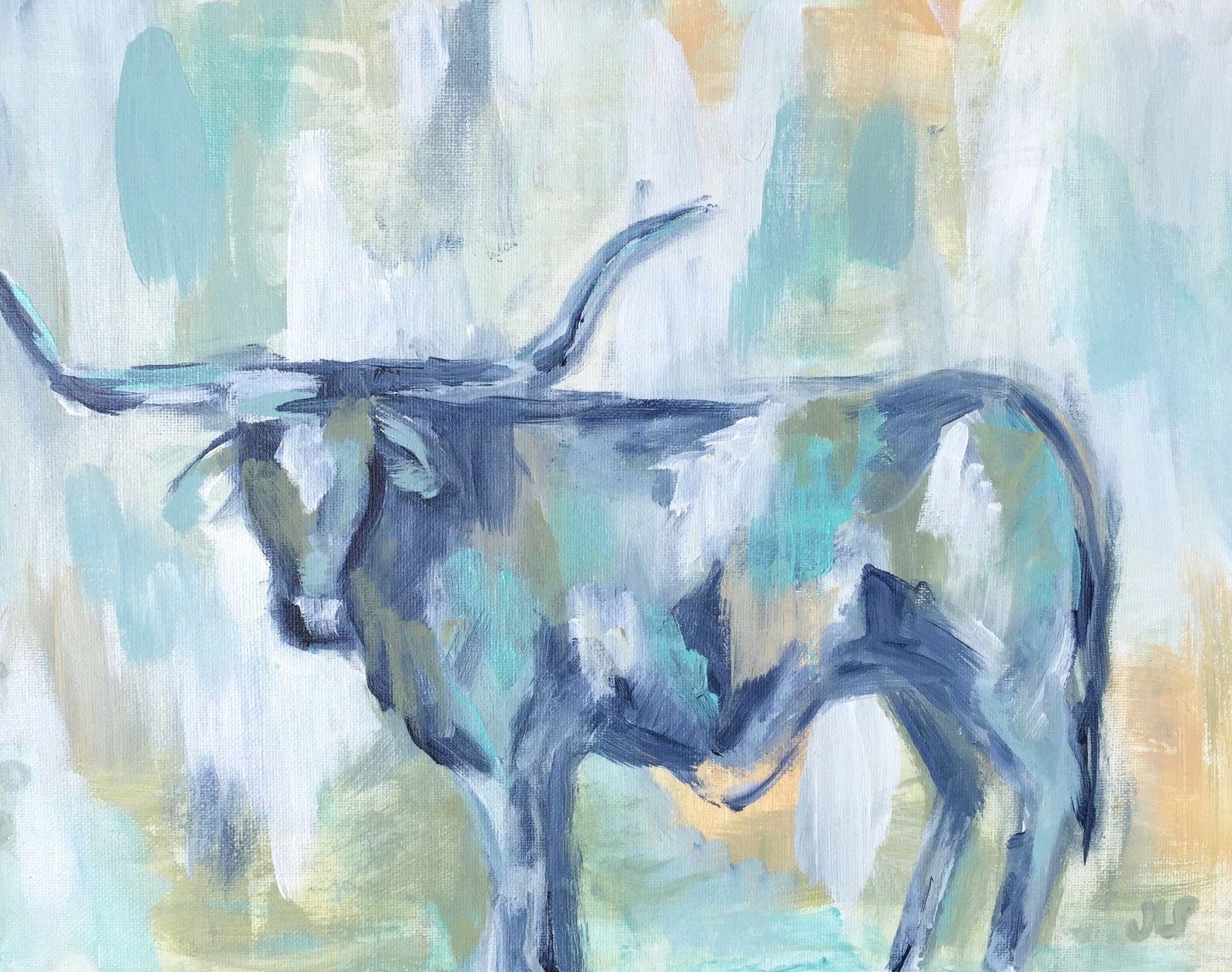 Texas Series. Longhorn. Jennie Lou Art. Cow. Art, Cool