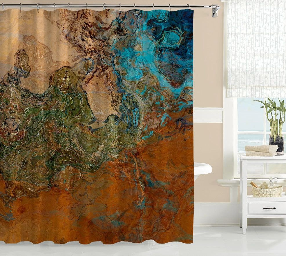 Elegant Abstract Art Shower Curtain Contemporary Bathroom Decor, Southwest Shower  Curtain In Rust And Turquoise, Bathroom Art, Canyon Sunset