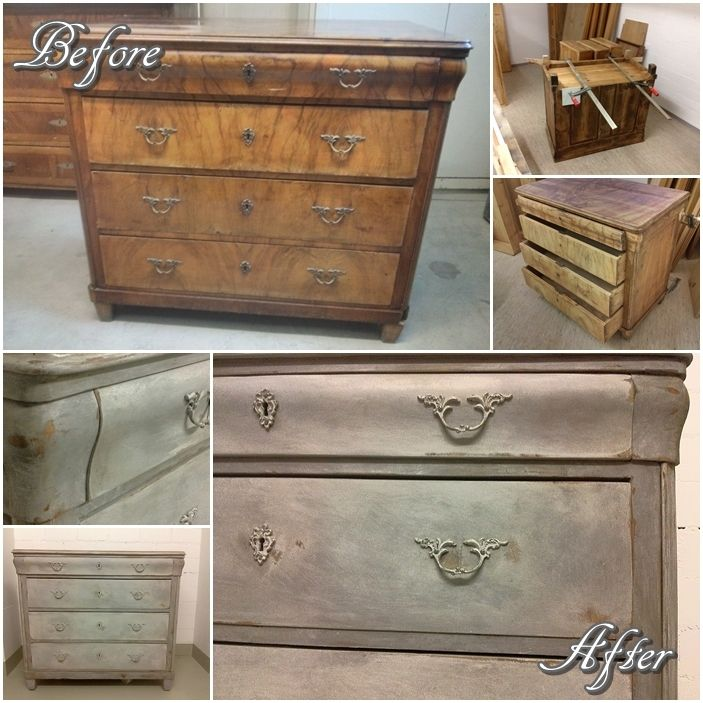 pretty before, even more pretty after. Shabby chic chalk painted commode