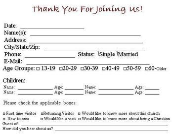 Download this visitor card click the link below church for Visitors book template free download