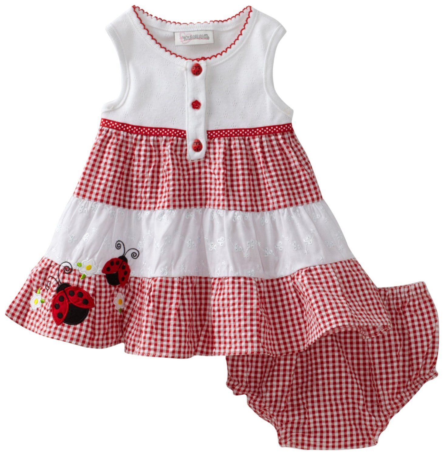Youngland Baby Girls Infant Ladybug Colorblock Seersucker Sundress