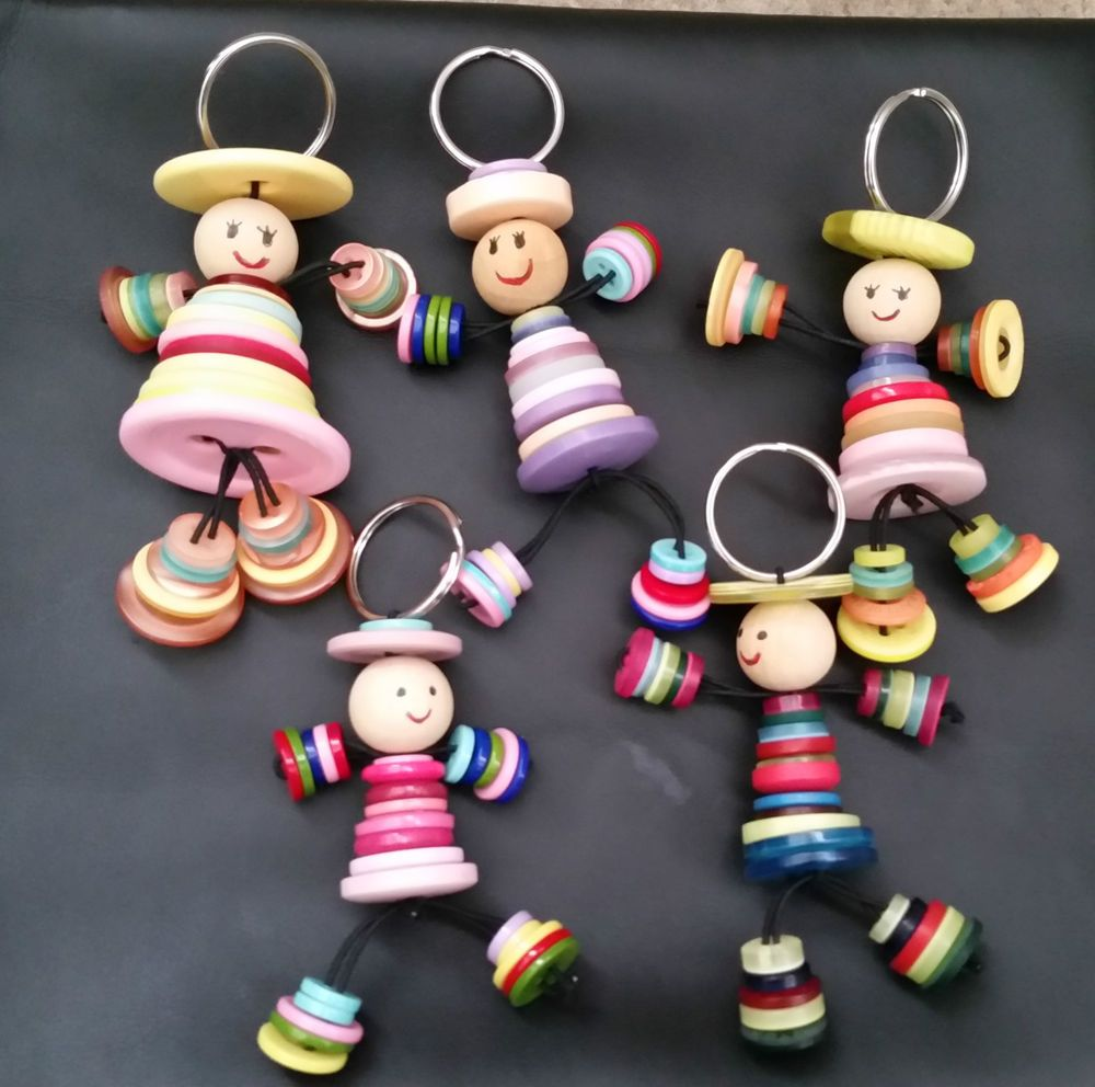 Bekend 1 Button Person Keyring Handmade Gift Upcycled man lady people  ZK23