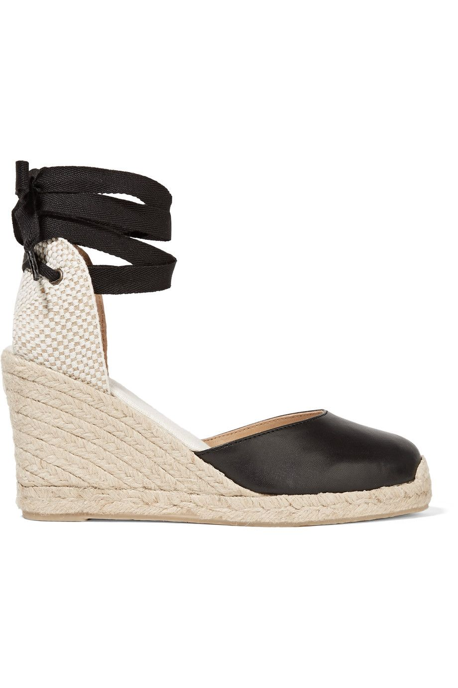 SOLUDOS Woven Raffia And Leather Wedge Espadrilles. #soludos #shoes #flats