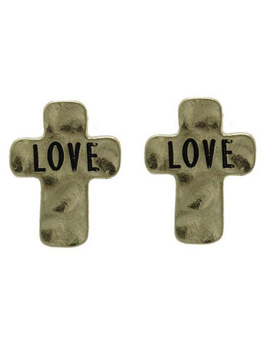 Earring Hammered Metal Cross Message Love Matte Finish 3/4 Inch Drop
