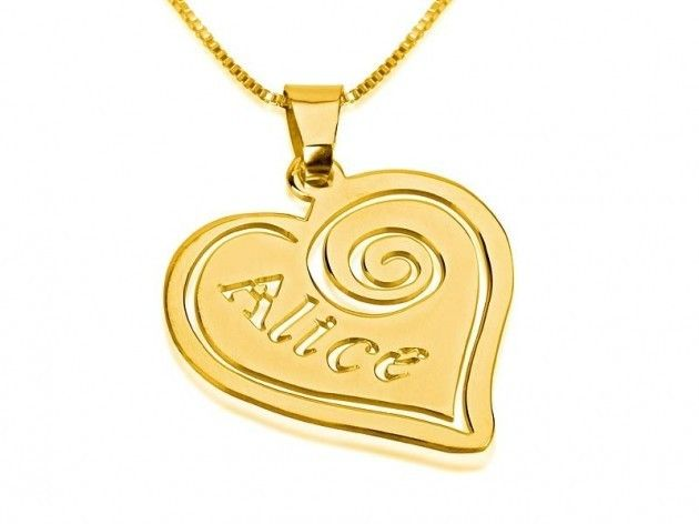 24k gold plated heart pendant with name personalized jewelry 24k gold plated heart pendant with name aloadofball Image collections