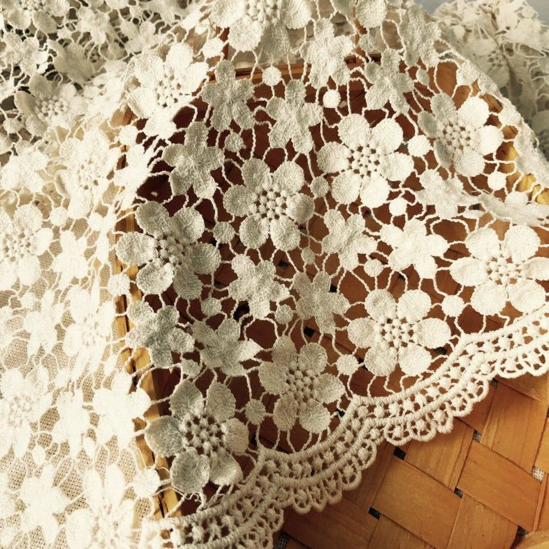 Vintage Style Cotton Fabric Scalloped Trim Fabric Beige Etsy Lace Fabric White Lace Fabric Corded Lace Fabric