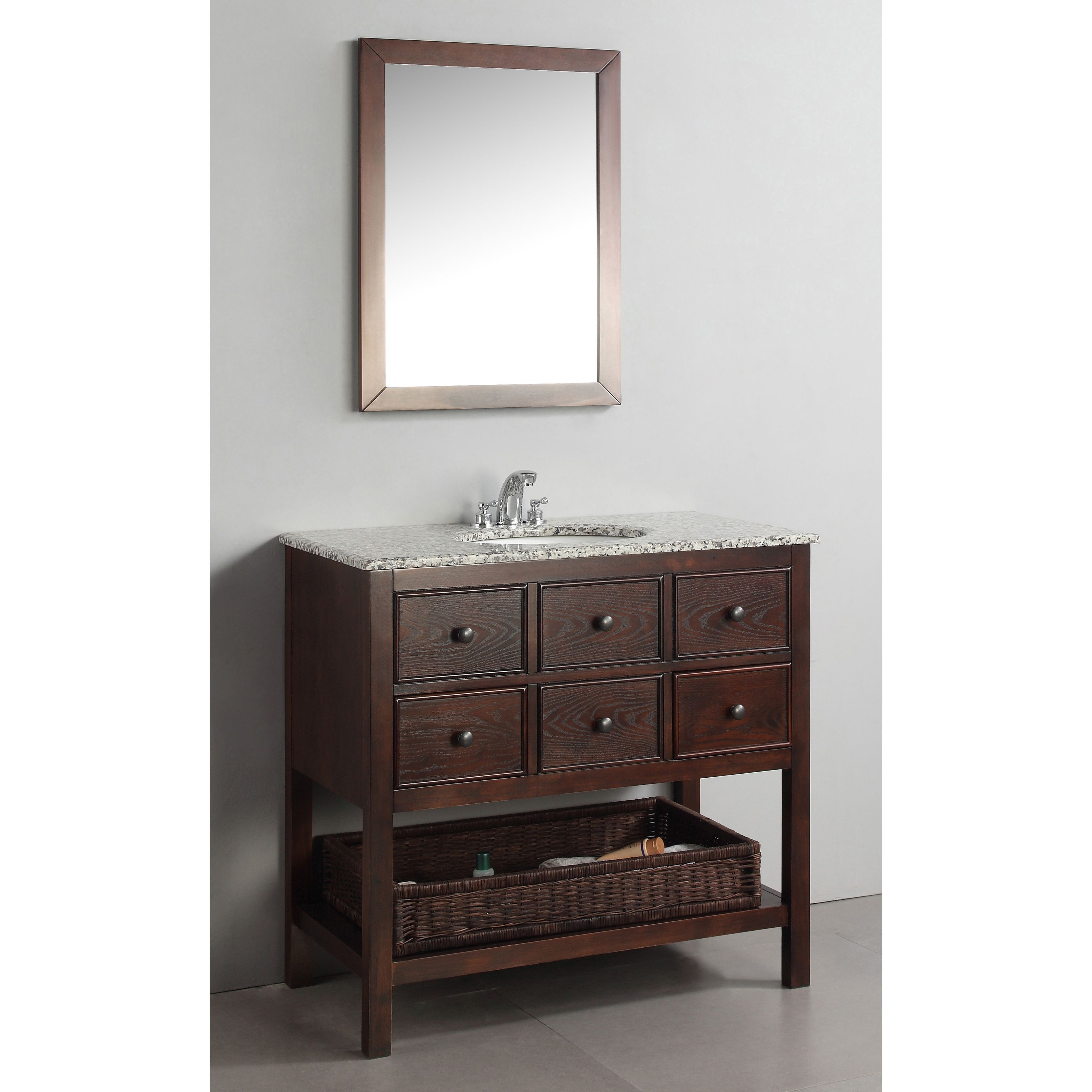 Image Of New Haven Walnut Brown Bath Vanity with Drawers and Dappled Grey Granite Top Overstock Shopping Great Deals on WyndenHall Bathroom Vanities