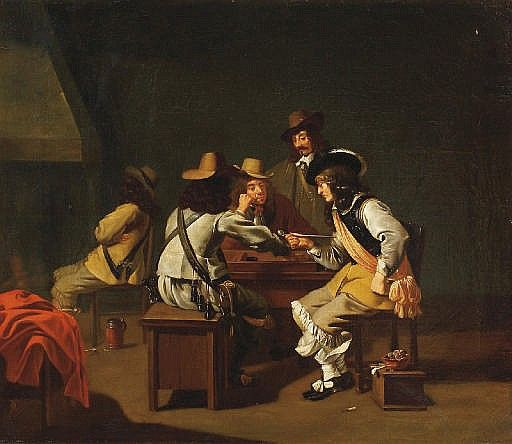 A guardroom interior with soldiers playing a boardgame