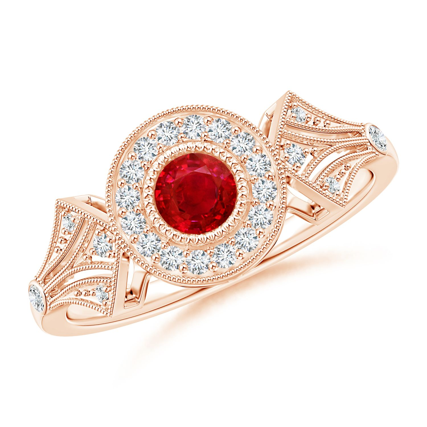 Angara Round Ruby Halo Ring with Cushion Milgrain Detailing 2qtrpP0LO