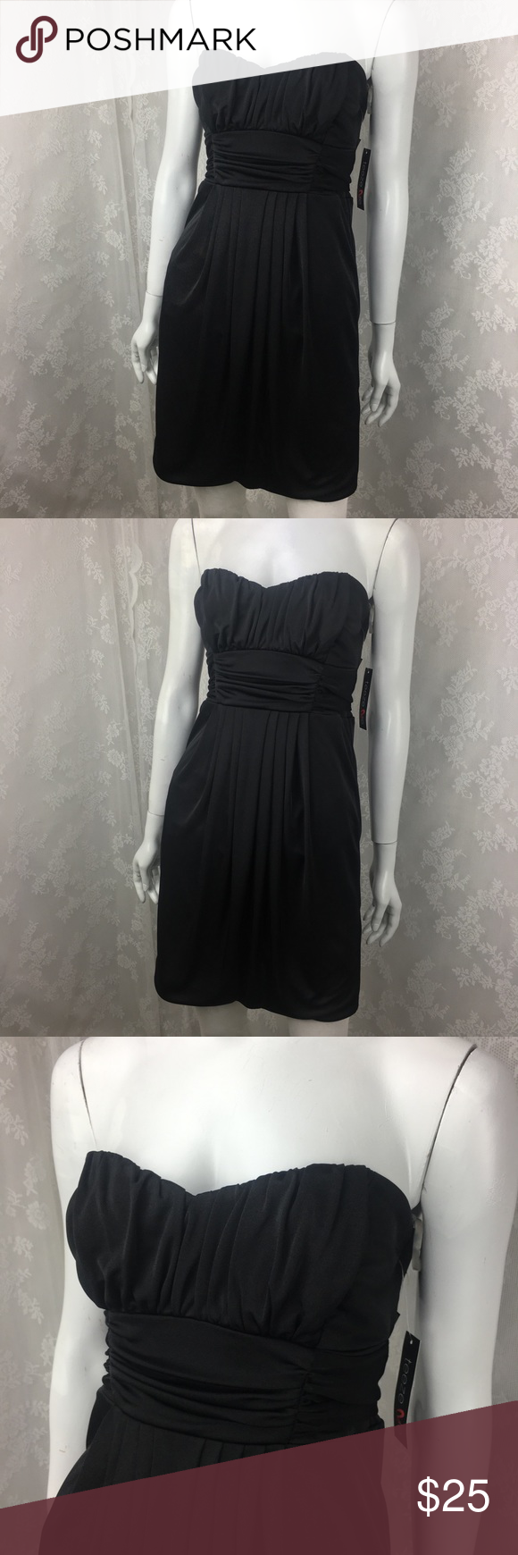 e9e5770d4 Teeze Me Little Black Dress Strapless Gathered Teezeme Size Medium Little  Black Dress Strapless Gathered Tie Back Sweetheart Bust line Bust 15 Length  29 ...