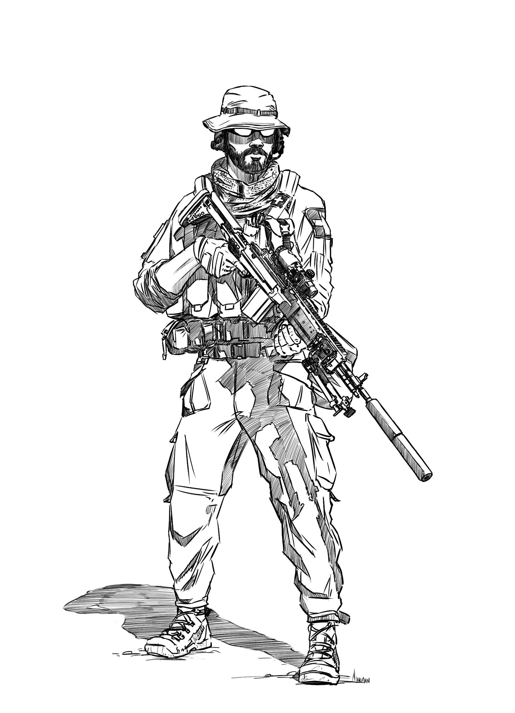 Medic with a mk14 dmr i drew for a commission [1735x2400]
