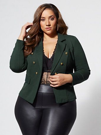 Clara Military Blazer - Fashion To Figure -  Shop FTF Emerald Military Blazer. Find your perfect size online at the best price at Fashion To Fig - #Blazer #Clara #Fashion #Figure #Military #plussizedresses #womenglasses #womensfashionplussize #womensstyle