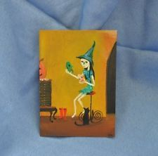 LWick Original ACEO OIL paint Which Witch? Halloween pumpkin cat nice detail!#witch#halloween#cat