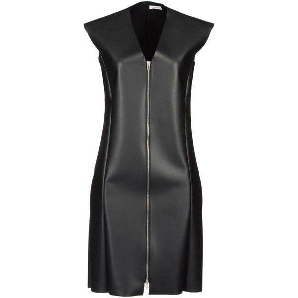 CÉLINE Short dress ($550) ❤ liked on Polyvore featuring dresses, black, celine, zipper dress, vneck dress, zipper mini dress, v neck mini dress and black sleeveless dress