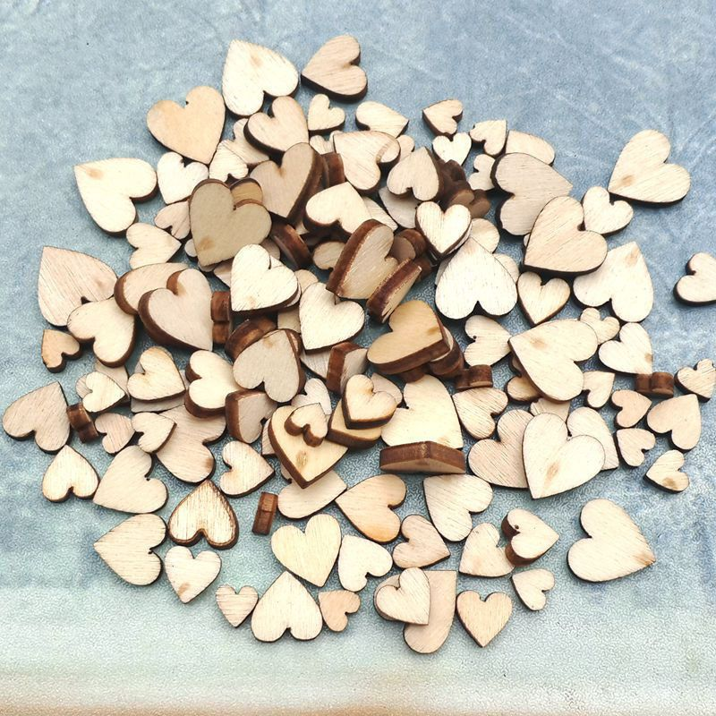 100 Pcs 4 Size Mixed New Love Heart Rustic Wooden Button Wedding Scatter Decor