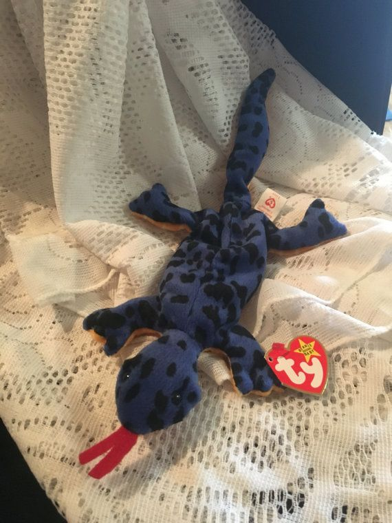 5ce693826d4 TY Beanie Baby Rare Lizzy the Blue Lizard by JewelzVintage on Etsy ...