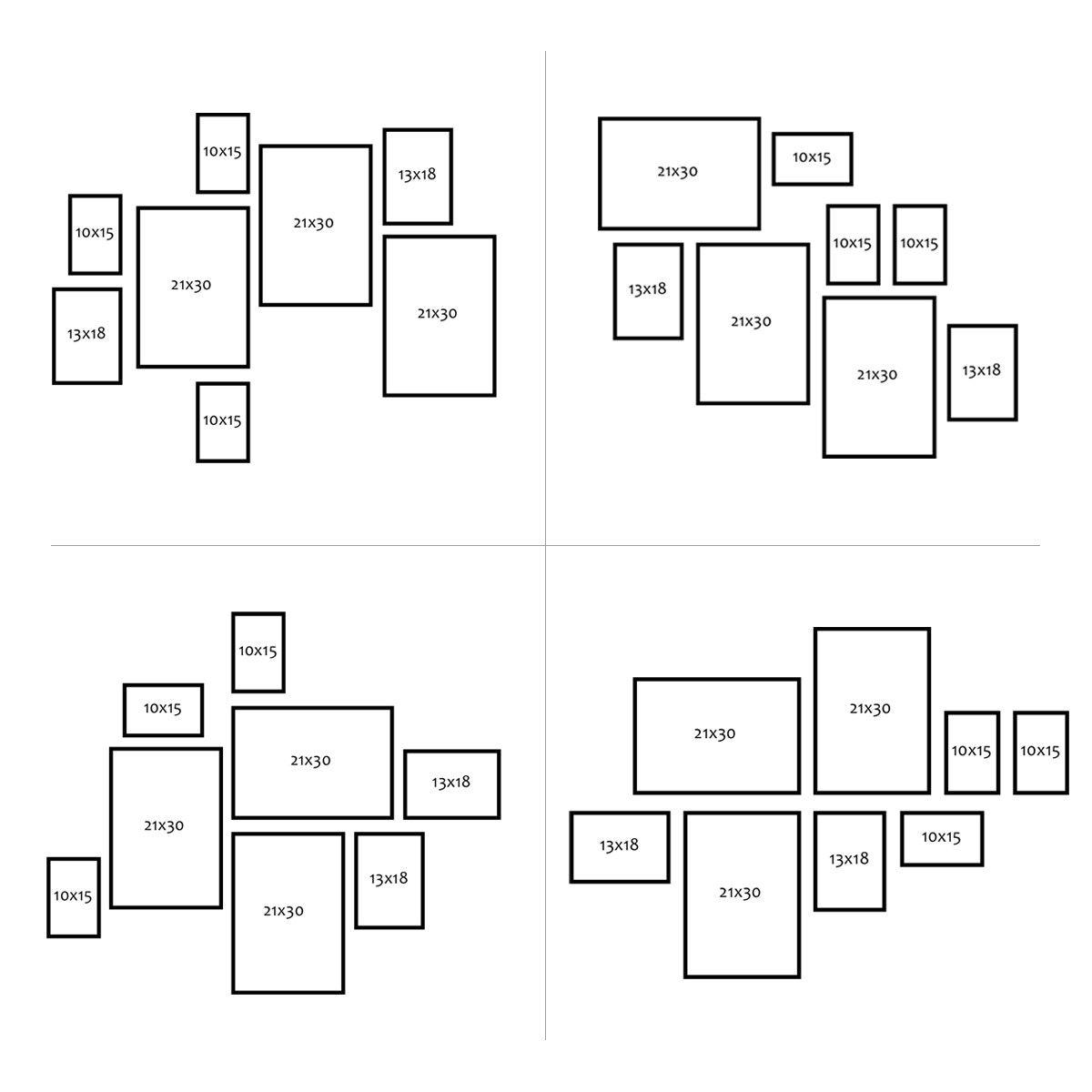 8er Bilderrahmen-Collage Basic Collection, Modern, Schwarz, aus MD,  inklusive Zubehör / Foto-Collage / Bildergalerie / Bilderrahmen-Set Bilderrahmen-Sets 8er Set