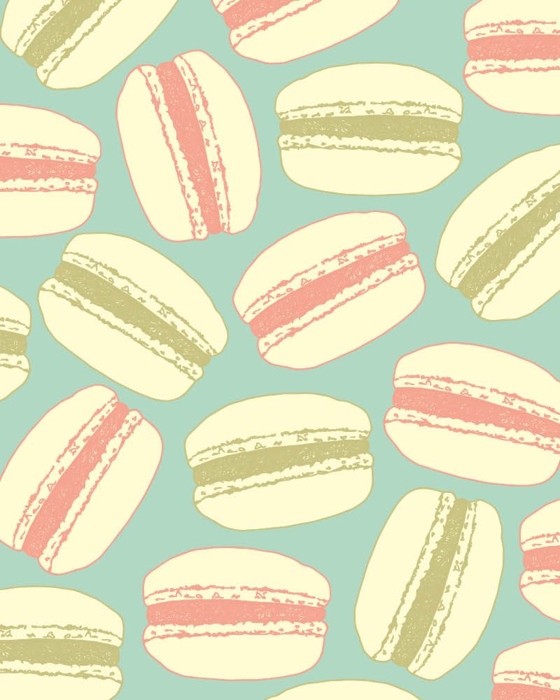 Macaroon pattern in blue, cream, pink and green, inspired by Bake ...