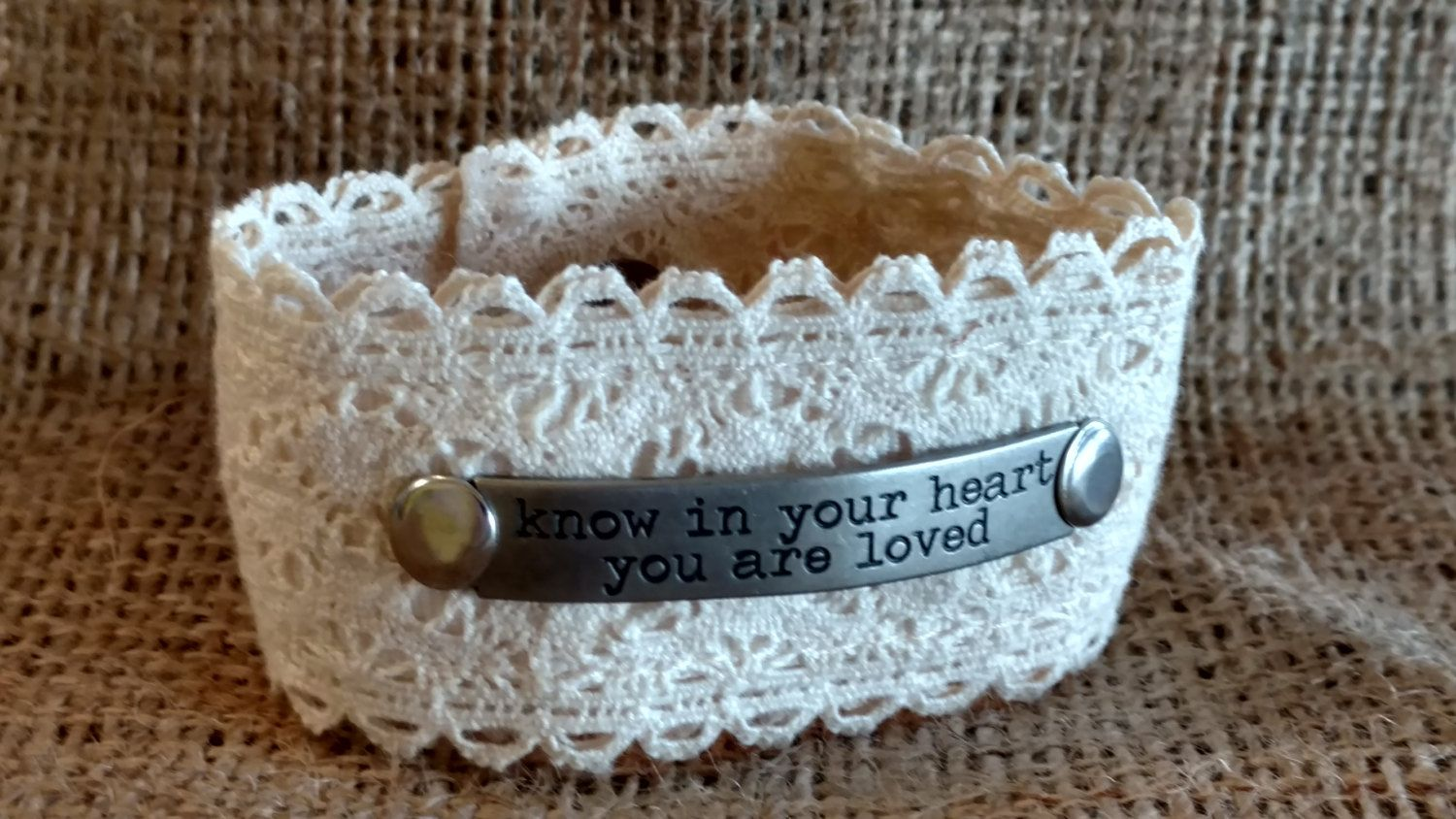 Sweet, Boho, Cream Colored Lace, Inspirational Wrist Cuff Made From Repurposed Belt! by soulfulheARTdesigns on Etsy