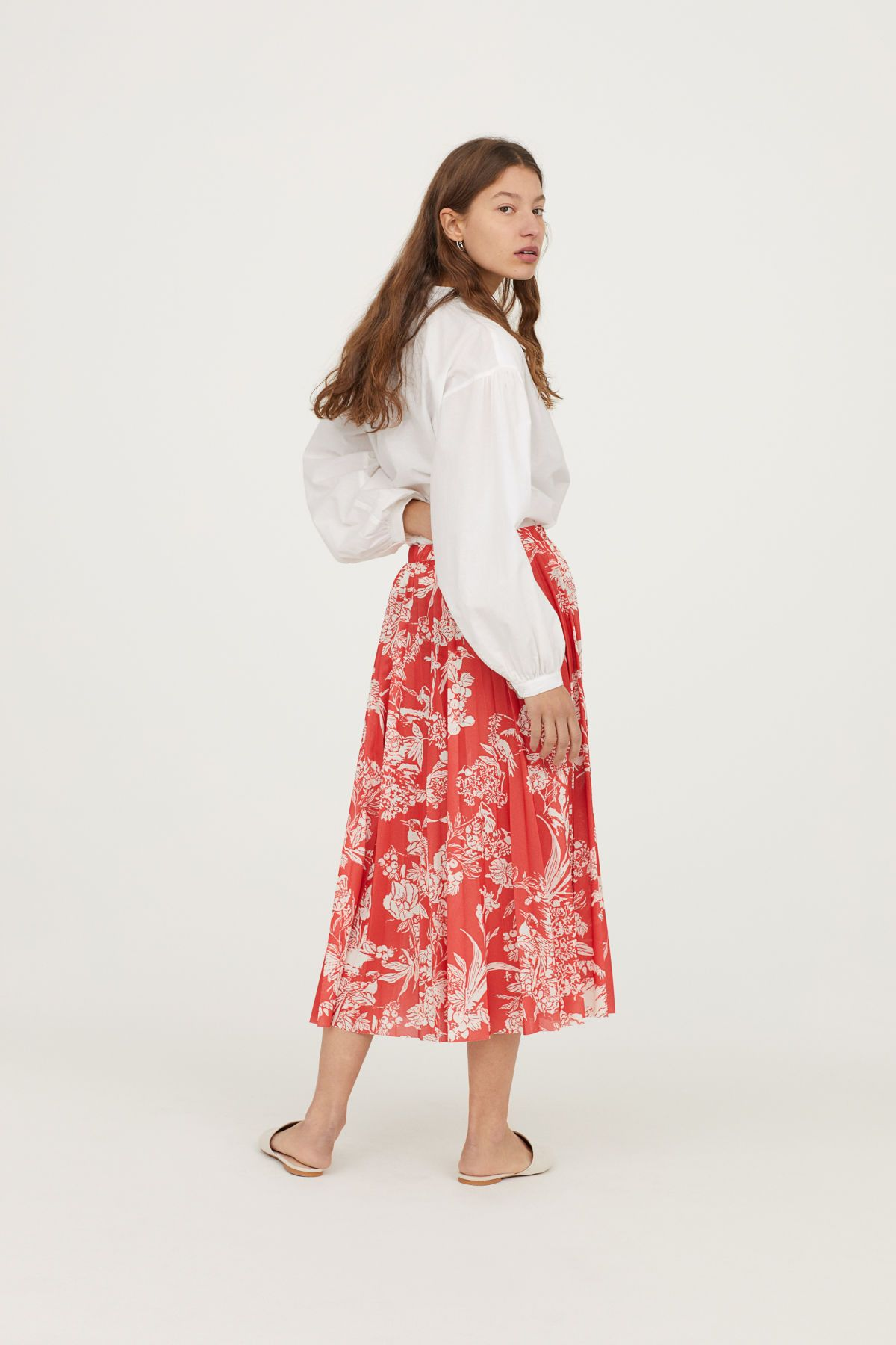 a58f09c2d Pleated Skirt | Bright red/patterned | WOMEN | H&M US | floral in ...