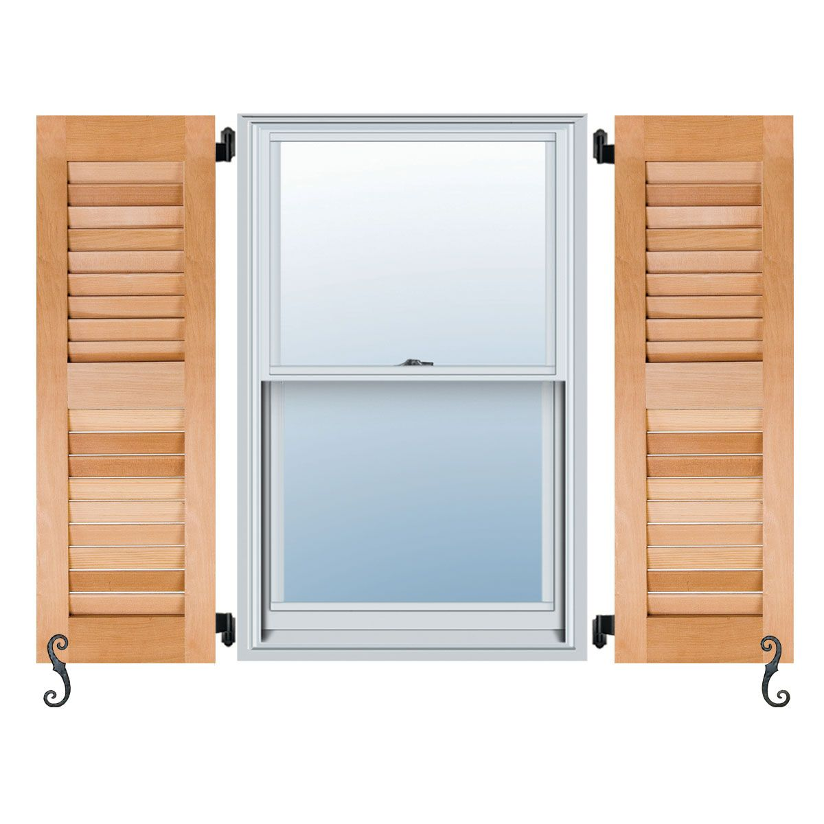 Architectural collection open louver wood shutters per - Raised panel interior window shutters ...