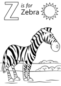 Letter Z Is For Zebra Coloring Page Alfabe