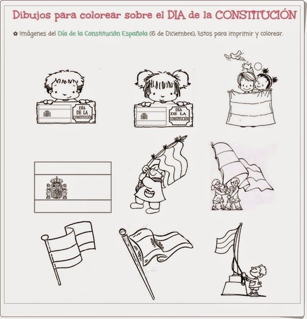Numerosos Dibujos Para Colorear Sobre El Dia De La Constitucion Espanola El 6 De Diciembr Dia De La Constitucion La Constitucion De 1978 Dibujos Para Colorear