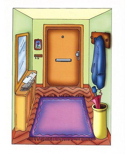 Láminas temáticas de expresión oral: El pasillo http://www.imagenesydibujosparaimprimir.com/2011/07/imagenes-habitaciones-casa-para.html