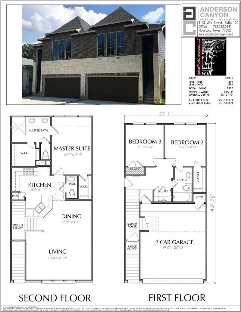 Two Story Duplex Townhouse Plan E4013 Townhouse Designs Duplex House Plans Loft Floor Plans