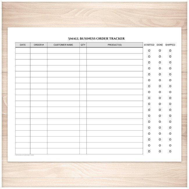 Small Business Order Tracking Page - Order Status Column - Printable ...