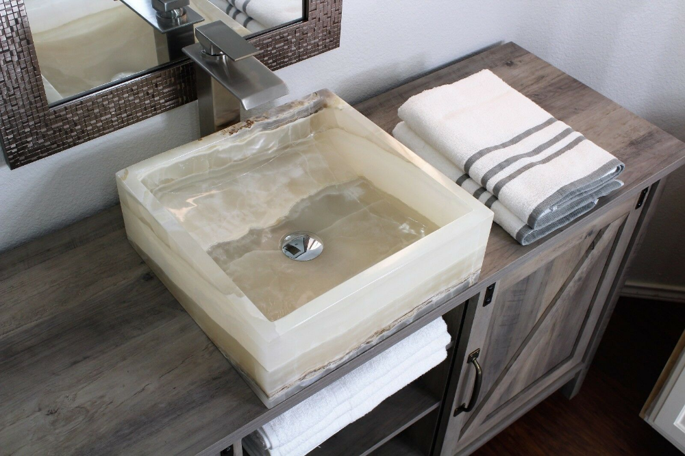 Modern Natural Stone Bathroom Vessel Sink White Onyx Square