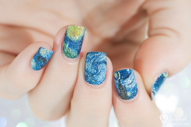 Lady Queen - The Starry Night nail foils    http://www.ladyqueen.com/1-sheet-nail-wraps-mysterious-starry-sky-night-patterned-full-nail-sticker-na0192.html